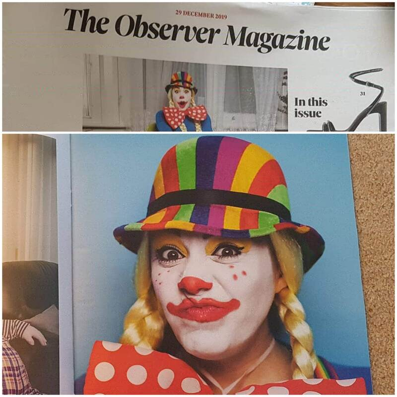 Jenna Featured as Minnie The Clown in The Observer in The Guardian Newspaper